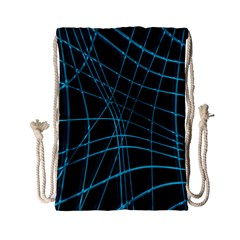 Cyan And Black Warped Lines Drawstring Bag (small) by Valentinaart