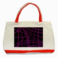 Purple And Black Warped Lines Classic Tote Bag (red) by Valentinaart