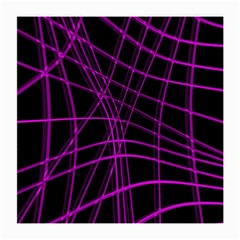 Purple And Black Warped Lines Medium Glasses Cloth (2 Side) by Valentinaart
