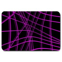 Purple And Black Warped Lines Large Doormat  by Valentinaart