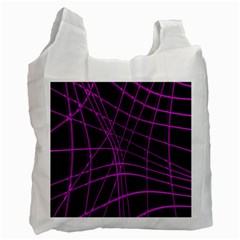 Purple And Black Warped Lines Recycle Bag (one Side) by Valentinaart
