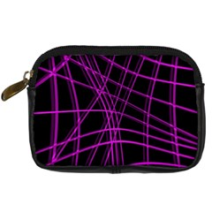 Purple And Black Warped Lines Digital Camera Cases by Valentinaart