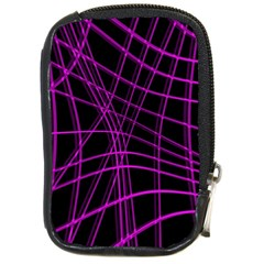 Purple And Black Warped Lines Compact Camera Cases by Valentinaart