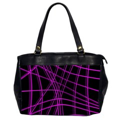 Purple And Black Warped Lines Office Handbags (2 Sides)  by Valentinaart