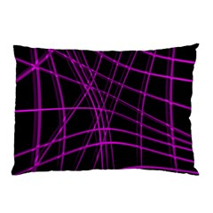 Purple And Black Warped Lines Pillow Case (two Sides) by Valentinaart
