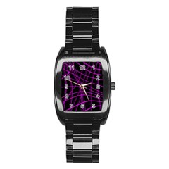 Purple And Black Warped Lines Stainless Steel Barrel Watch by Valentinaart