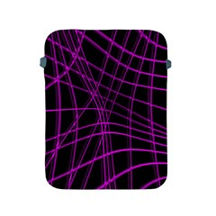 Purple And Black Warped Lines Apple Ipad 2/3/4 Protective Soft Cases by Valentinaart