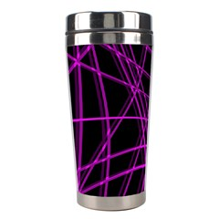 Purple And Black Warped Lines Stainless Steel Travel Tumblers by Valentinaart
