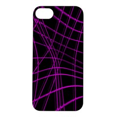 Purple And Black Warped Lines Apple Iphone 5s/ Se Hardshell Case by Valentinaart