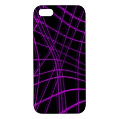 Purple And Black Warped Lines Iphone 5s/ Se Premium Hardshell Case by Valentinaart