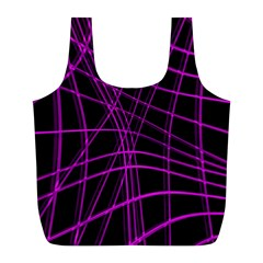 Purple And Black Warped Lines Full Print Recycle Bags (l)  by Valentinaart