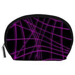 Purple And Black Warped Lines Accessory Pouches (large)  by Valentinaart