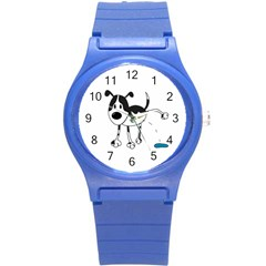 My Cute Dog Round Plastic Sport Watch (s) by Valentinaart