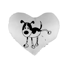 My Cute Dog Standard 16  Premium Heart Shape Cushions by Valentinaart