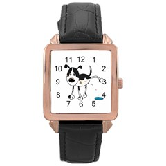 My Cute Dog Rose Gold Leather Watch  by Valentinaart