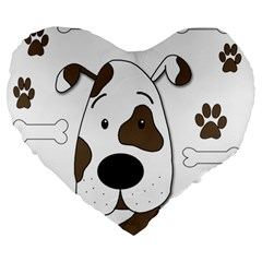 Cute Dog Large 19  Premium Heart Shape Cushions by Valentinaart