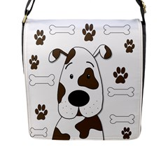 Cute Dog Flap Messenger Bag (l)  by Valentinaart