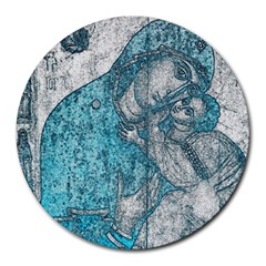 Mother Mary And Infant Jesus Christ  Blue Portrait Old Vintage Drawing Round Mousepads by yoursparklingshop