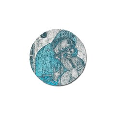 Mother Mary And Infant Jesus Christ  Blue Portrait Old Vintage Drawing Golf Ball Marker (10 Pack) by yoursparklingshop