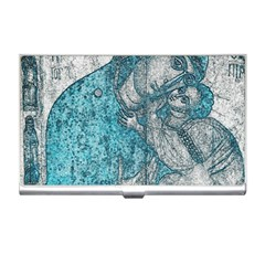 Mother Mary And Infant Jesus Christ  Blue Portrait Old Vintage Drawing Business Card Holders by yoursparklingshop