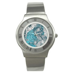 Mother Mary And Infant Jesus Christ  Blue Portrait Old Vintage Drawing Stainless Steel Watch by yoursparklingshop