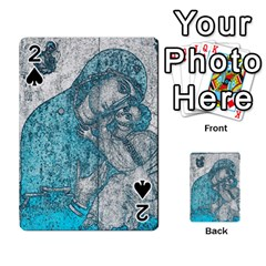 Mother Mary And Infant Jesus Christ  Blue Portrait Old Vintage Drawing Playing Cards 54 Designs  by yoursparklingshop