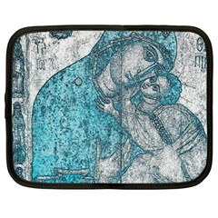 Mother Mary And Infant Jesus Christ  Blue Portrait Old Vintage Drawing Netbook Case (large) by yoursparklingshop
