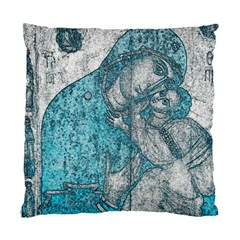 Mother Mary And Infant Jesus Christ  Blue Portrait Old Vintage Drawing Standard Cushion Case (one Side) by yoursparklingshop