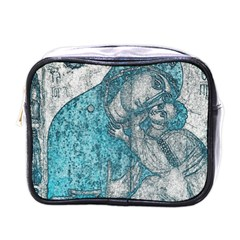 Mother Mary And Infant Jesus Christ  Blue Portrait Old Vintage Drawing Mini Toiletries Bags by yoursparklingshop