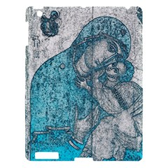 Mother Mary And Infant Jesus Christ  Blue Portrait Old Vintage Drawing Apple Ipad 3/4 Hardshell Case by yoursparklingshop