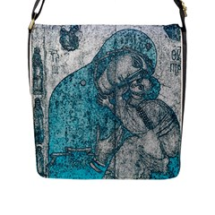 Mother Mary And Infant Jesus Christ  Blue Portrait Old Vintage Drawing Flap Messenger Bag (l)  by yoursparklingshop