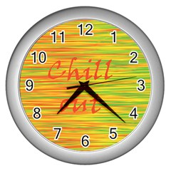 Chill Out Wall Clocks (silver)  by Valentinaart