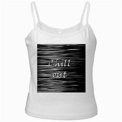 Black An White  chill Out  White Spaghetti Tank by Valentinaart