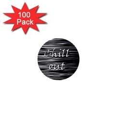 Black An White  chill Out  1  Mini Buttons (100 Pack)  by Valentinaart