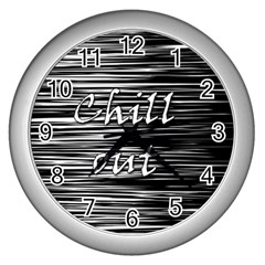 Black An White  chill Out  Wall Clocks (silver)  by Valentinaart