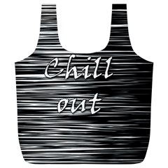 Black An White  chill Out  Full Print Recycle Bags (l)  by Valentinaart