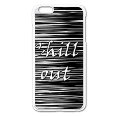 Black An White  chill Out  Apple Iphone 6 Plus/6s Plus Enamel White Case by Valentinaart
