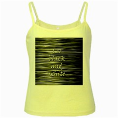 I love black and white Yellow Spaghetti Tank