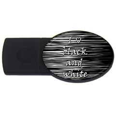 I love black and white USB Flash Drive Oval (2 GB)