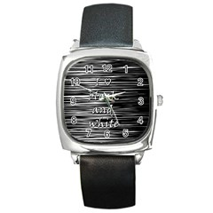 I love black and white Square Metal Watch