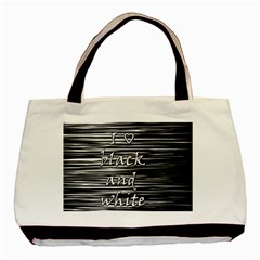 I love black and white Basic Tote Bag (Two Sides)