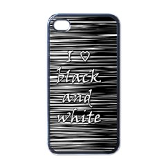 I love black and white Apple iPhone 4 Case (Black)
