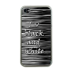 I love black and white Apple iPhone 4 Case (Clear)