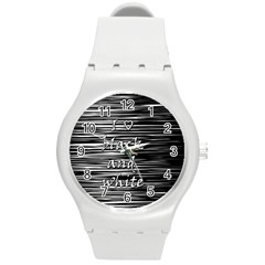 I love black and white Round Plastic Sport Watch (M)