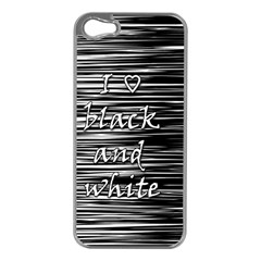 I love black and white Apple iPhone 5 Case (Silver)
