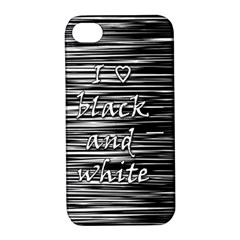 I love black and white Apple iPhone 4/4S Hardshell Case with Stand