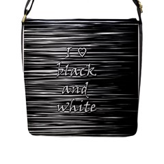 I love black and white Flap Messenger Bag (L)