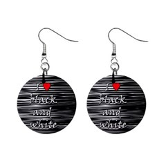 I Love Black And White 2 Mini Button Earrings by Valentinaart
