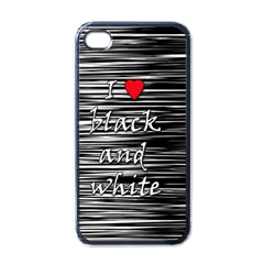 I love black and white 2 Apple iPhone 4 Case (Black)