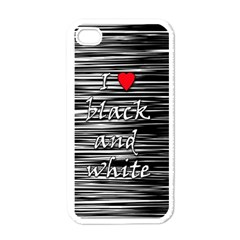 I love black and white 2 Apple iPhone 4 Case (White)